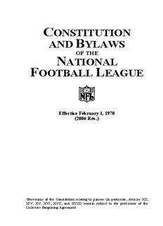 NFL Constitution and ByLaws